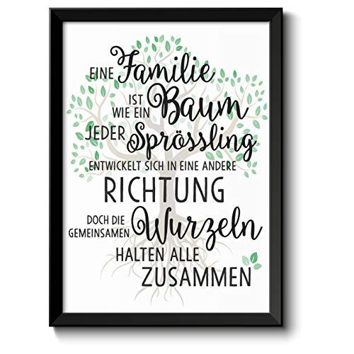 Familie ist wie ein Baum Bild im schwarzem Holz-Rahmen Geschenk Geschenkideen Muttertag Vatertag Muttertagsgeschenke Eltern Mama Papa