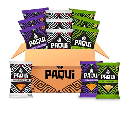 Paqui Spicy Hot Tortilla Chips Variety Pack, Haunted Ghost Pepper, Fiery Chile Limon, Zesty Salsa Verde, Gluten Free Snacks, 2oz Individual Snack Sized Bags (12 Count Box)