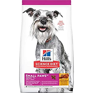 Hill's Science Diet Dry Dog Food, Adult 7+ for Senior Dogs, Small Paws for Small Breeds, Chicken Meal, Barley & Brown Rice Recipe, 15.5 lb Bag