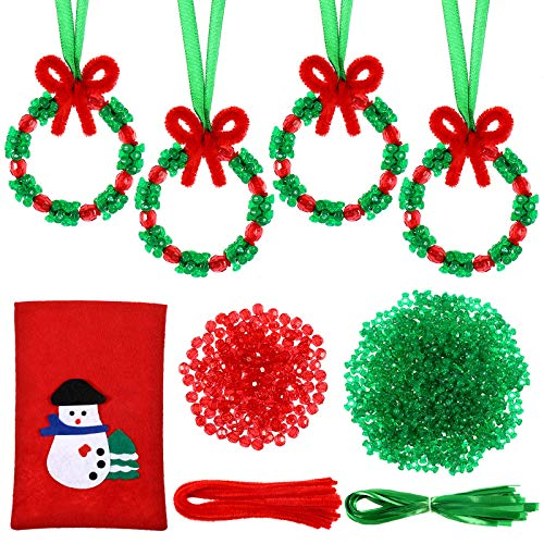 WILLBOND 30 Sets Christmas Beaded Ornament Kit Xmas Craft DIY Wreath Holiday Christmas Tree Hanging Decorations with Christmas Bag for Christmas DIY Projects Holiday Party