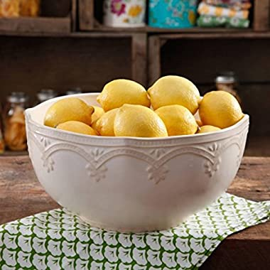 The Pioneer Woman Farmhouse Lace 10  Linen Serving Bowl (1)