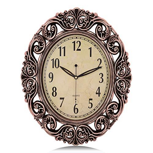 Lafocuse Relojes de Pared Vintage Retro Color Cobre Ovalado Silencioso Grandes Reloj de Cuarzo Forma de Flor Decorativo para Salon Comedor 46x37cm