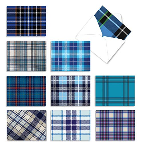 The Best Card Company - 10 Boxed Greeting Cards Blank (4 x 5.12 Inch) - Bulk All Occasion Card Assortment - Tartan Blue M3100