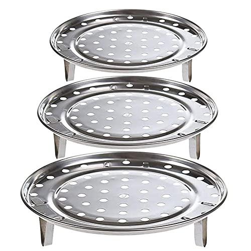 QQEE 3 Pezzi Supporto Vassoio la Cottura Vapore, Supporto Vapore Acciaio Inossidabile, Griglia Cottura Vapore Metallo, Griglia per la Cottura al Vapore, Piatto del Vassoio del Vapore, per Cucina