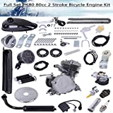 PK80 80cc Bicycle Engine Kit, 2-Stroke Gas Motorized Bike Motor Kit Upgrade with Speedoemter for 26' and 28' Bikes (Black)