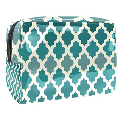 Reise-Make-up-Tasche Große Kosmetiktasche,Weißes marokkanisches Muster-Smaragdgrün ,Make-up-Tasche Organizer für Frauen und Mädchen