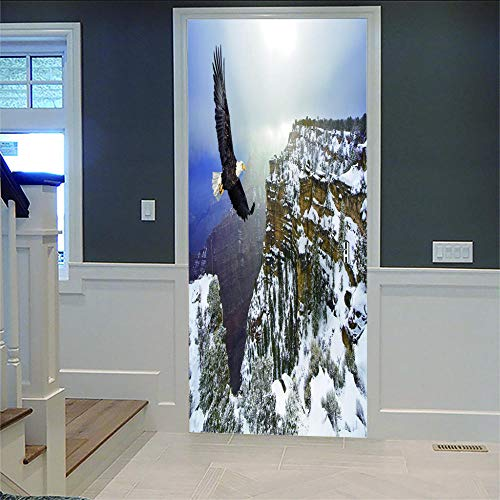 Kunstwerke 3D Fliegender Adler Türen Renovierung Wasserdichte Tür Aufkleber Einfache Wohnzimmer Fensterbild