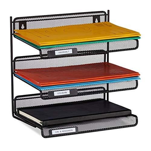 Relaxdays Briefablage Metall, 3 Fächer zum Beschriften, A4, Büro & Arbeitszimmer, Wandmontage, HBT 32x33x25 cm, schwarz, 1 Stück