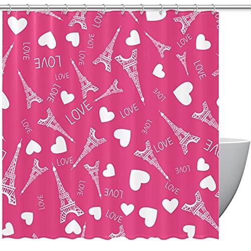 MUMIMI Juego de cortinas de ducha con ganchos, resistente al agua, cortina de baño de hotel, Torre Eiffel de París, color rosa, cortina de baño de 182 x 183 cm