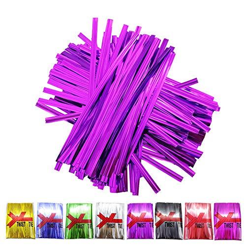 H-Laner Bread Bags Tie 400Pcs 4' Metallic Twist Ties (Purple)