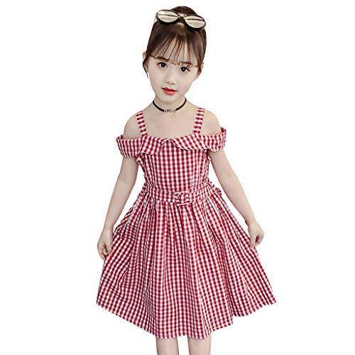 Julhold Vestido de verano para niños y niñas, con hombros descubiertos, a cuadros, para 3-14 años, 5 estilos de 2019 Rojo (1) 9-10 Años