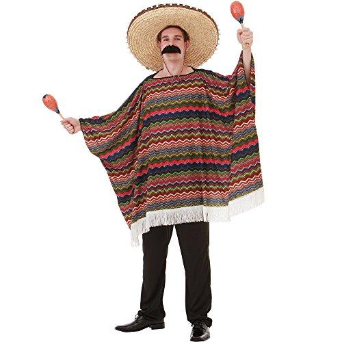 Saltillo Serape Men's Halloween Costume Mexican Fiesta Mariachi Poncho Outfit, Multicolored, One Size