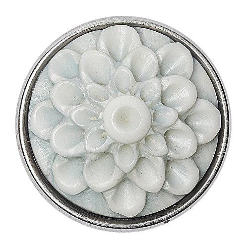 Noosa Chunk Raw Romance Dahlia - white metal / grey bone