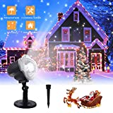 ZHUPIG Christmas Projector Light, LED Snowfall Projection Lamp, Outdoor Waterproof Sparkling Decorative Lighting for Thanksgiving, Xmas, Birthday Party (Cool White 6000K, 2 Installation Methods)