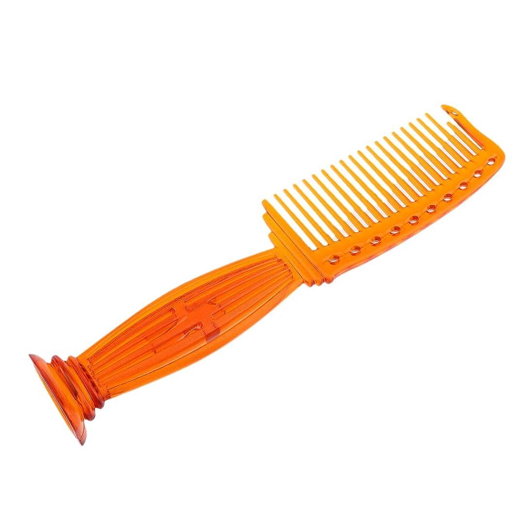 評論家注入するビタミンCUTICATE ヘアコーム ヘアブラシ プラスチック櫛 ワイド歯 プロ ヘアサロン 理髪師 全5色選べ - オレンジ