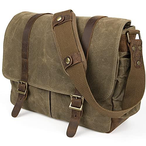 SLR Kameratasche, wasserdichte Leder Wachs-Segeltuchtasche Große Vintage Kameratasche Messenger Bag für Damen Herren mit Fächer