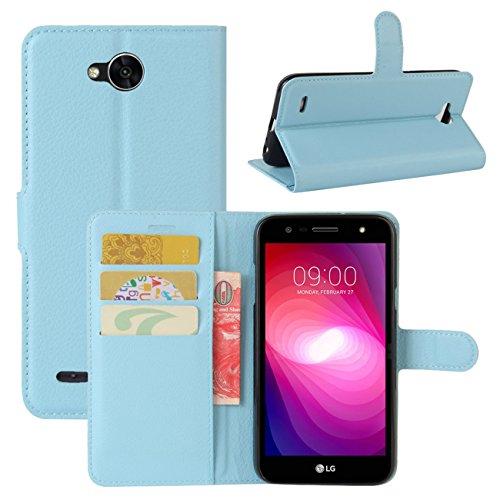 HualuBro LG X Power 2 HandyHülle, Leder Brieftasche Etui Lederhülle Tasche Schutzhülle Hülle [Standfunktion] Handytasche Flip Hülle Cover für LG XPower 2, LG X Power II (Blau)