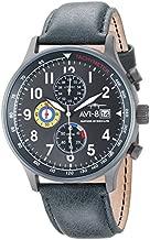 AVI-8 Men's Hawker Hurricane Stainless Steel Japanese-Quartz Aviator Watch with Leather Calfskin Strap, Green, 20 (Model: AV-4011-0D)