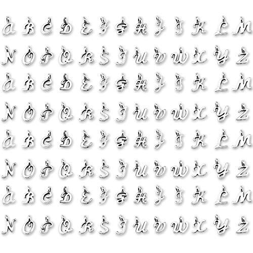 SAVITA 130 Pezzi ABC Lettera Charms Mini Alfabeto A-Z Bracciale in Lega di Zinco Pendenti con Collana per Creazione di Gioielli Fai da Te