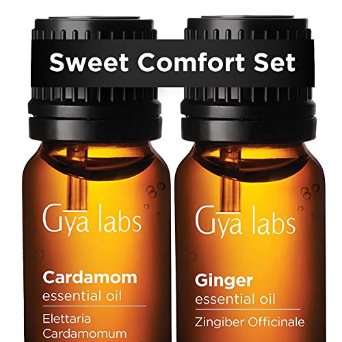 Cardamom Essential Oil & Ginger Oil - Gya Labs Sweet Comfort Set to Relieve Nausea & Sore Muscles - 100% Pure Therapeutic Grade Essential Oils Set - 2x10ml