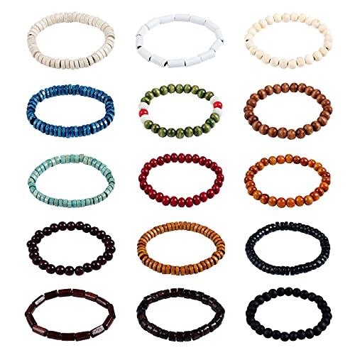 Lystaii 15pcs Wooden Beaded Bracelet Bangle Elastic Stretch Bracelet Set for Men and Women Elastic Prayer Beads for Meditation Buddha Tibetan Bracelet 8mm Beaded Bracelet Buddha Bracelet