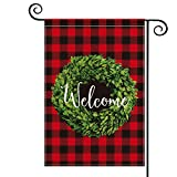 AVOIN Christmas Boxwood Wreath Welcome Garden Flag Vertical Double Sided, Winter Valentine s Day Buffalo Check Plaid Rustic Farmhouse Burlap Flag Yard Outdoor Decoration 12.5 x 18 Inch
