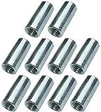 AERZETIX - Juego de 10 tuercas manguitos de acoplamiento M8x25x11mm roscados - manguito de conexión redondo cilíndrico prolongador - en acero galvanizado - C49631