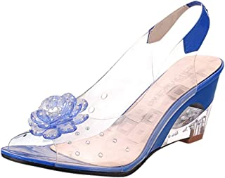Women`s Jelly Sandals,Summer Flower Rhinestone Peep Toe Roma Wedges Crystal Wedges Shoes