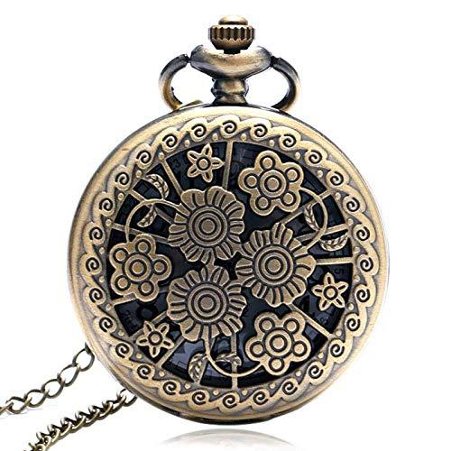 SHKUU Reloj Bolsillo Vintage Bronce clásico Retro Hueco Hermoso patrón Flores Reloj Hora Collar Cadena Hombres Mujeres Regalo para cumpleaños Navidad