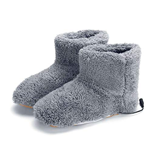 MUXIN Heiz Pantoffel, Beheizter Fußwärmer, Elektrische Heizung Hausschuhe USB Warme Plüschschuhe Pantoffeln, Fußwärmer Schuhe Stiefel Einlegesohlen Halten Die Füße Warm,Grau