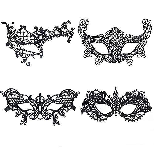 Meimask Spitze Maske Sexy Damen Spitzenmaske Venezianische Augenmaske Gotische Masken Geeignet für Karneval Maskerade Halloween Party (4 Stück)