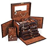 Kendal Brown Leather Jewelry Box CASE Storage Organizer with Travel CASE and Lock