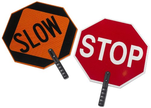 """Cortina ABS Plastic Pole Mounted Paddle Sign, """"STOP/SLOW"""", 03-851, 18"""" Sign with 9"""" Polygrip Handle, Red on Orange"""
