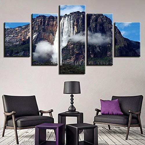 BDFDF Lienzo 5 Piezas Cuadro Lienzo No Tejido Cascada del Salto Ángel Venezuela 5 Carteles Pintura Mural Modernos Hogar Decoracion Artes 150X80Cm