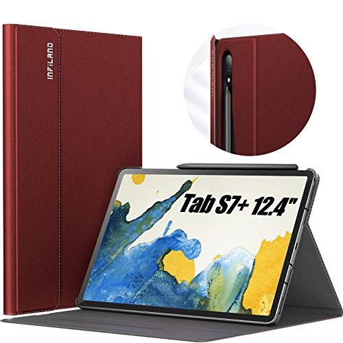 INFILAND Hülle für Samsung Galaxy Tab S7+/S7 Plus 12.4 (T970/T975/T976) 2020, Hochwertige mit Mehreren Winkeln Schutzhülle Tasche mit Auto Schlaf/Wach Funktion, Rotwein