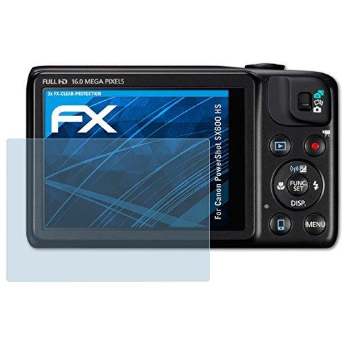 atFoliX Lámina Protectora de Pantalla Compatible con Canon PowerShot SX600 HS Película...
