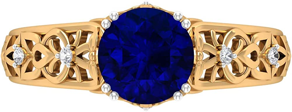 7 MM Max 43% OFF Blue Sapphire Lab D-VSSI Created Ring Solitaire Moissanite OFFicial mail order