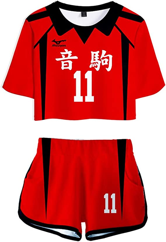 Bingchuan Haikyuu Cosplay Costume Femme Hinata Shoyo Chemise Shorts Ensemble Karasuno lyc/ée Volley-Ball Club Maillot Ensemble Uniforme