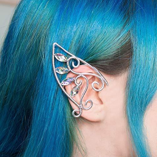 Rhys elfic ear cuff earring, Orecchino wire argentato con pietre a goccia, Costume elfico, Matrimonio fantasy, Cosplay elfo
