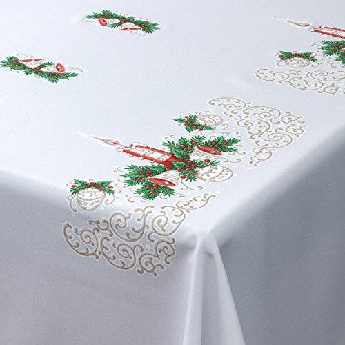 """Tovaglia natalizia, con motivo candela, colori rosso dorato e verde, rettangolare, Poliestere, White, 57"""" x 87"""" (145cm x 220cm)"""