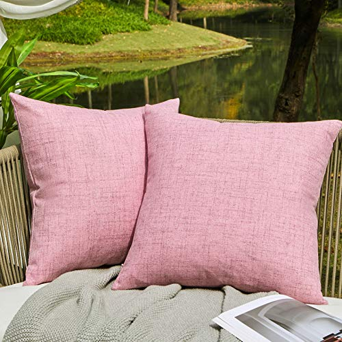 WAYIMPRESS Outdoor Pillows for Patio Furniture Waterproof Pillow Covers Square Garden Cushion Farmhouse Linen Throw Pillow Covers Shell for Patio Tent Couch (18 x 18,Pink)