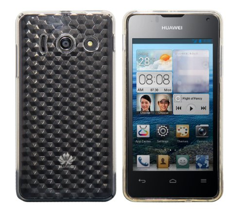 Luxburg® Diamond Design custodia cover per Huawei Ascend Y300 colore bianco cristallo, in silicone TPU