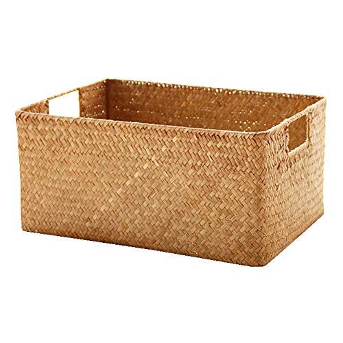 Cesta de almacenamiento de ratán para sala de estar, escritorio, mesa de café, aperitivos, cesta de almacenamiento de bambú pastoral (tamaño: 34 x 25 x 16 cm)