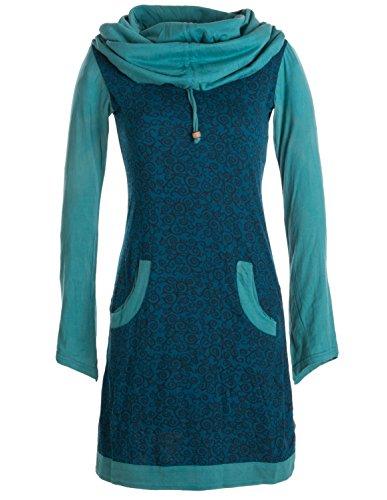 Vishes - Alternative Bekleidung - Bedrucktes Baumwollkleid mit Kapuzenschalkragen und Taschen türkis türkis 38