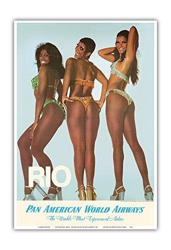 Pacifica Island Art Rio De Janeiro, Brasilien - Oba-Oba Tänzerinnen - Vintage Retro Fluggesellschaft Reise Plakat Poster c.1965 - Kunstdruck - 33cm x 48cm