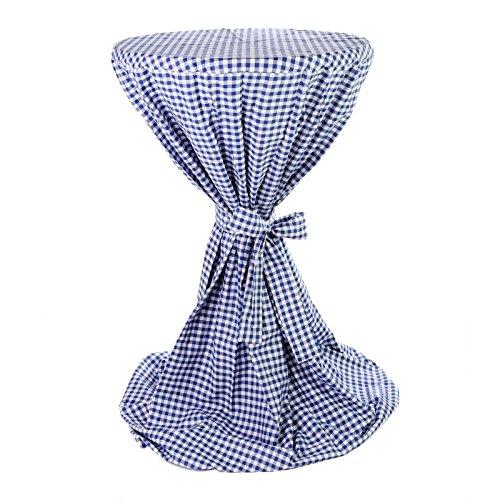 Hans-Textil-Shop Stehtischhusse 80-85 cm Karo 1x1 cm Blau Baumwolle