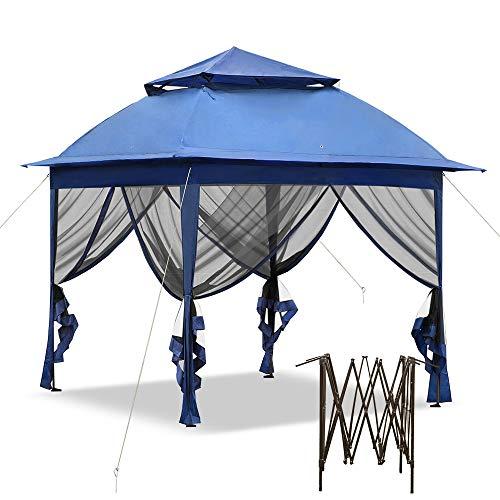 HENGMEI Gartenpavillon Faltbare Pavillon 3x3m Gartenzelt Partyzelt Sonnenschutz Festzelt, Blau