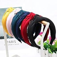 XHYRB ワイド女性のシンプルなファブリック女の子ヘアバンド女性ヘアアクセサリーサイドヘアバンドのためのソリッドカラーノット鉢巻き ヘアバンド (Color : 13)