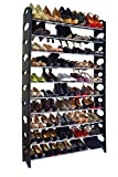 Crazyworld 10 Tier Stainless Steel Shoe Rack / Ribbon Storage Stackable Shelves, Holds 50 Pairs Of Shoes,60.6' x 38.2' x 7.5' ,Black & Silver