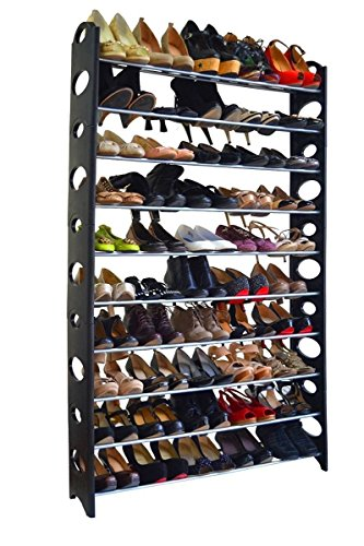 """Crazyworld 10 Tier Stainless Steel Shoe Rack / Ribbon Storage Stackable Shelves, Holds 50 Pairs Of Shoes,60.6"""" x 38.2"""" x 7.5"""" ,Black & Silver"""